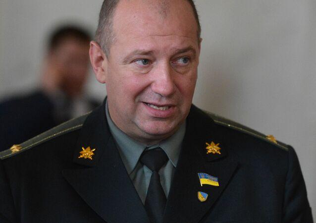 Były dowódca batalionu ochotniczego Ajdar, deputowany ludowy Siergiej Melniczuk na posiedzeniu Rady Najwyższej Ukrainy w Kijowie