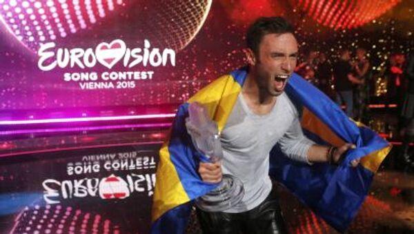 Zwycięzca 60. Konkursu Piosenki Eurowizja 2015 Måns Zelmerlow ze Szwecji - Sputnik Polska