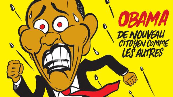 Karykatura Obamy w Charlie Hebdo - Sputnik Polska