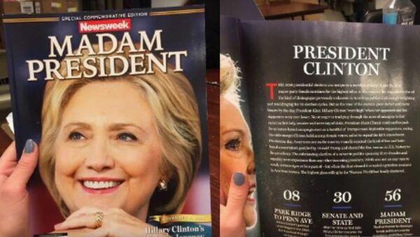 Okładka Newsweeka z portretem Hilary Clinton i podpisem Madam President - Sputnik Polska