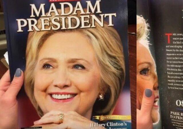 Okładka Newsweeka z portretem Hilary Clinton i podpisem Madam President