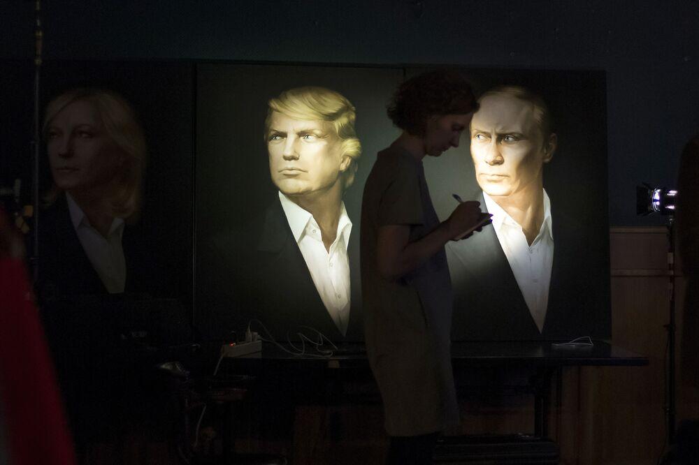 Portrety Donalda Trumpa i Władimira Putina w pubie Union Jack w Moskwie