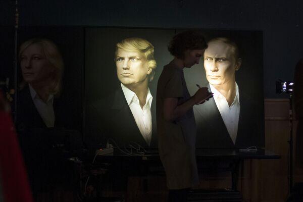 Portrety Donalda Trumpa i Władimira Putina w pubie Union Jack w Moskwie - Sputnik Polska