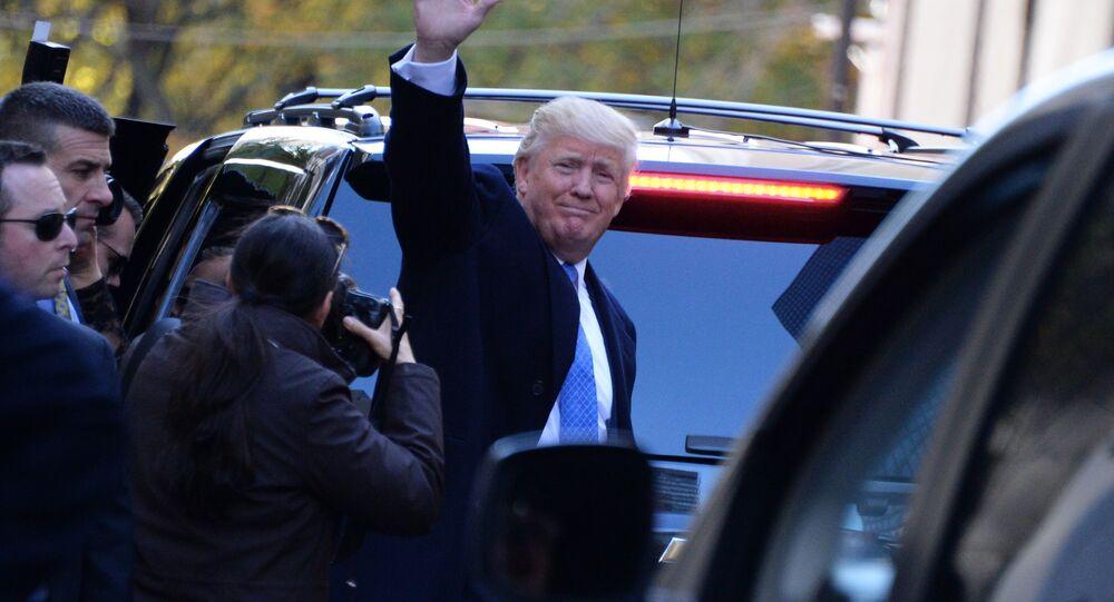 Republikański kandydat na prezydenta Donald Trump po głosowaniu w Nowym Jorku