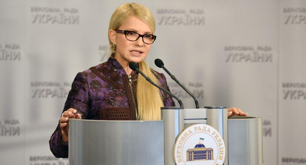 Liderka frakcji Batkiwszczyna Julia Tymoszenko na posiedzeniu Rady Najwyższej Ukrainy w Kijowie