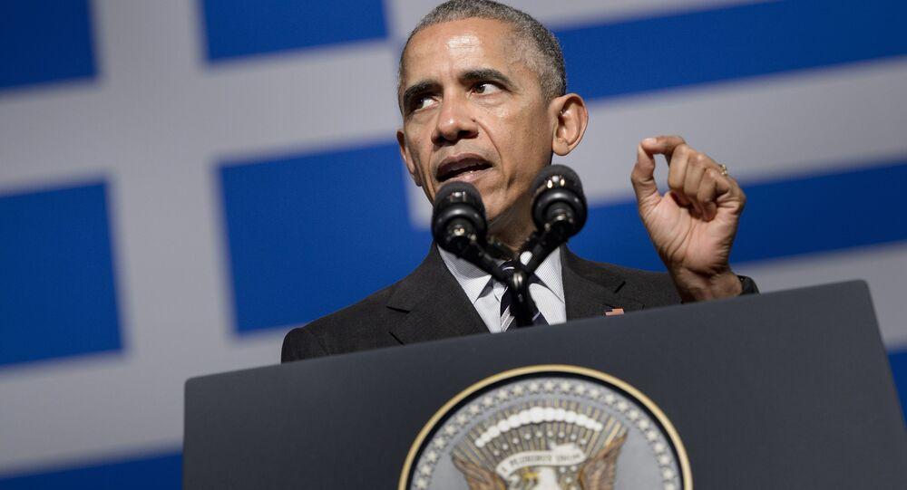 Prezydent USA Barack Obama podczas wizyty w Atenach