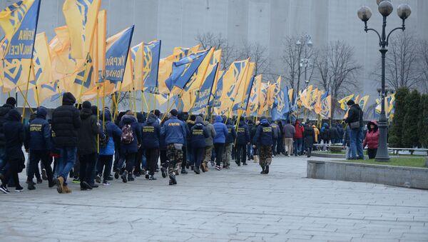 Marsz aktywistów batalionu Azow w Kijowie - Sputnik Polska