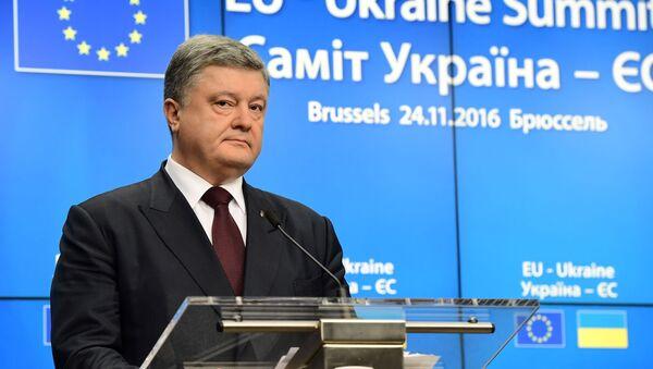 Prezydent Ukrainy Petro Poroszenko na szczycie Ukraina-UE w Brukseli - Sputnik Polska