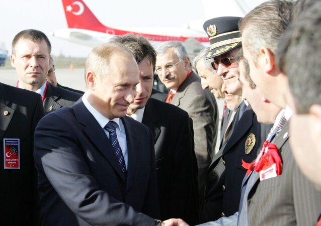 Władimir Putin popdczas wizyty w turecki Samsun. Ceremonia otwarcia projektu  «Błękitny potok».