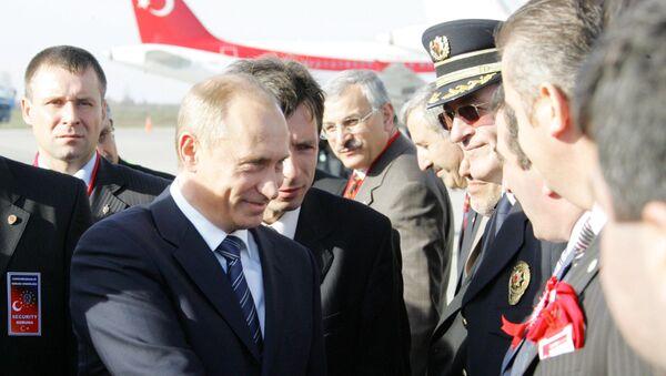 Władimir Putin popdczas wizyty w turecki Samsun. Ceremonia otwarcia projektu  «Błękitny potok». - Sputnik Polska