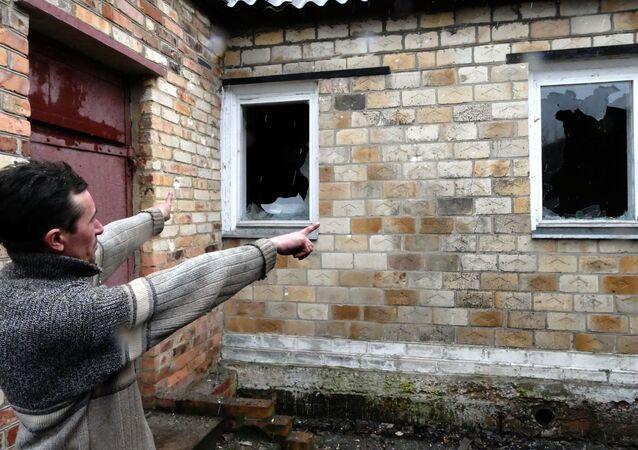 Ostrzał osiedla Zajcewo pod Gorłówką w DRL