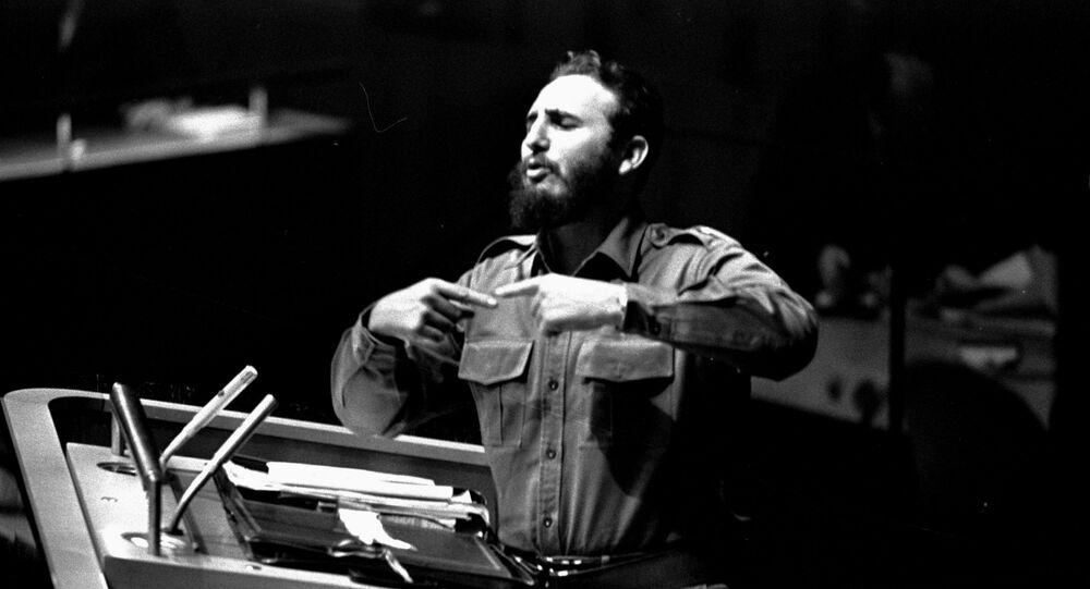 Fidel Castro podczas Zgromadzenia Ogólnego ONZ 26 września 1960 roku w Nowym Jorku