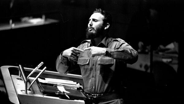 Fidel Castro podczas Zgromadzenia Ogólnego ONZ 26 września 1960 roku w Nowym Jorku - Sputnik Polska