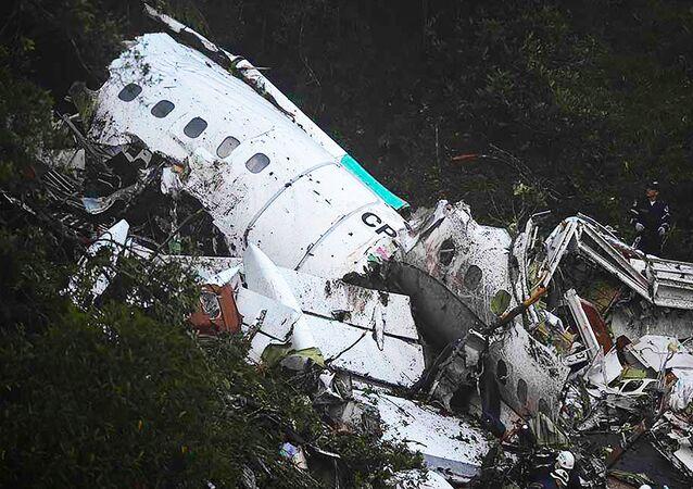 Miejsce katastrofy samolotu z brazylijskimi piłkarzami.