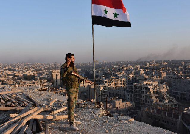 Żołnierz syryjskiej armii przed panoramą miasta Aleppo