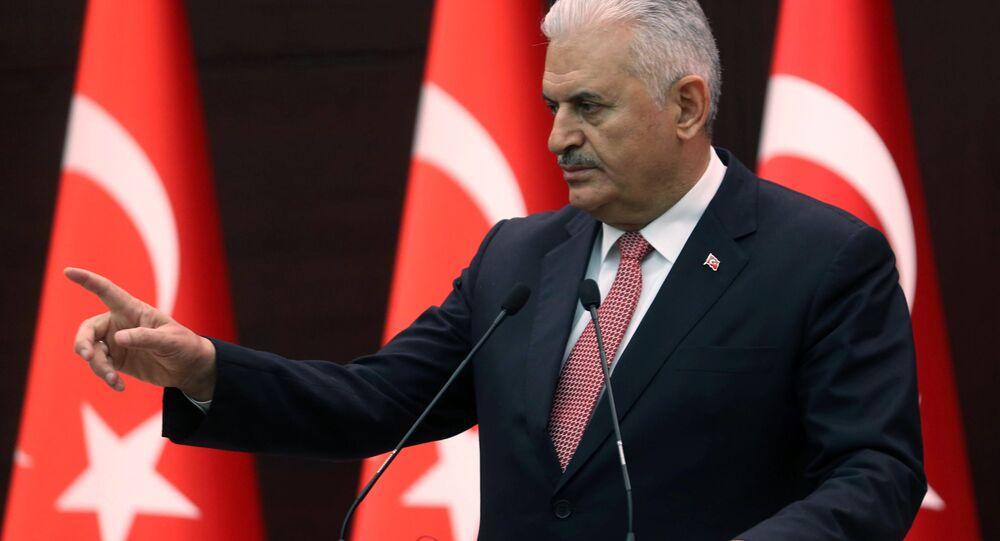 Premier Turcji Binali Yildirim w Pałacu Çankaya w Ankarze