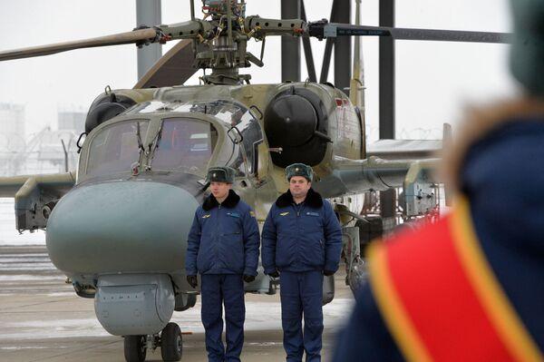 Przekazanie nowych śmigłowców uderzeniowych Ka-52 personelowi Pułku Śmigłowców Południowo-wschodniego okręgu w Krasnodarskim kraju - Sputnik Polska