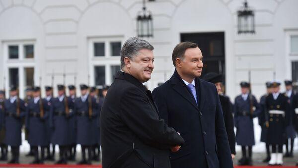 Prezydent Ukrainy Petro Poroszenko i prezydent Polski Andrzej Duda podczs spotkania w Warszawie - Sputnik Polska