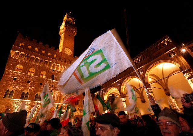 Zwolennicy Renziego we Florencji, 2 grudnia 2016