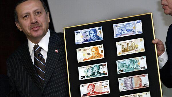 Recep Tayyip Erdogan i liry tureckie - Sputnik Polska