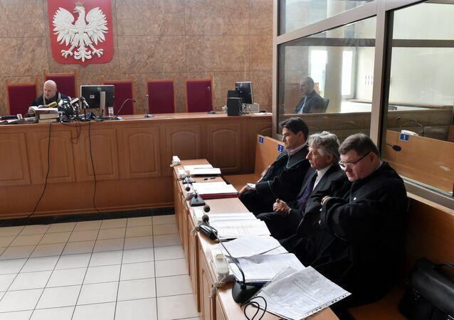 Roman Polański w sądzie w Krakowie, 22.09.2015.