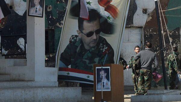 Portret Asada w Syrii - Sputnik Polska