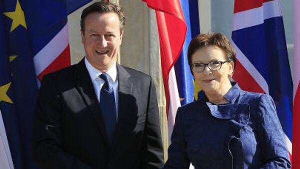 Brytyjski premier David Cameron na spotkaniu z polską premier Ewą Kopacz, 29 maja 2015 - Sputnik Polska