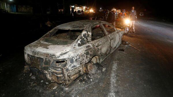 Samochód, który spłonął w wyniku wypadku w Kenii - Sputnik Polska