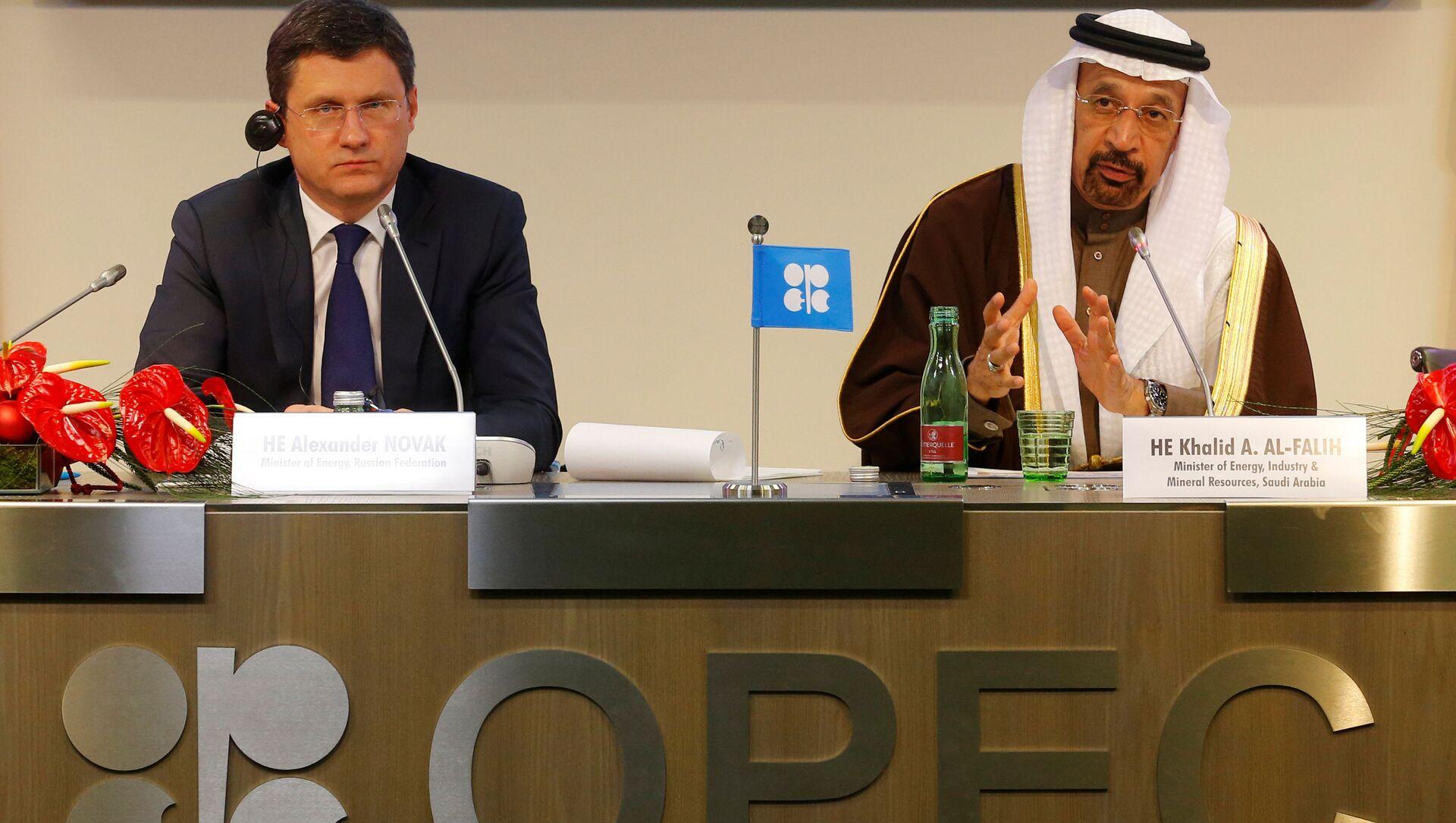 Minister energetyki Aleksander Nowak i minister energetyki Arabii Saudyjskiej na konferencji prasowej po spotkaniu OPEC - Sputnik Polska, 1920, 01.04.2021