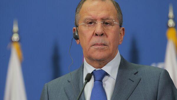 Minister spraw zagranicznych Rosji Siergiej Ławrow na konferencji prasowej w Belgradzie - Sputnik Polska