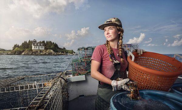 Kobieta pracująca jako poławiacz homarów w Rockporcie - Sputnik Polska