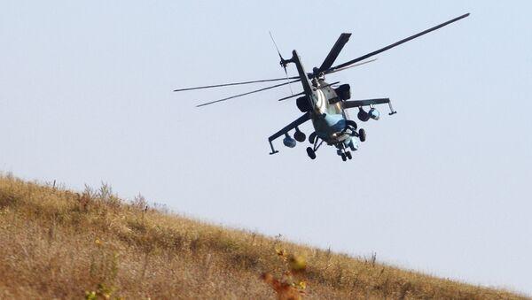 Ukraiński śmigłowiec wojskowy podczas patrolowania w okolicach Doniecka - Sputnik Polska