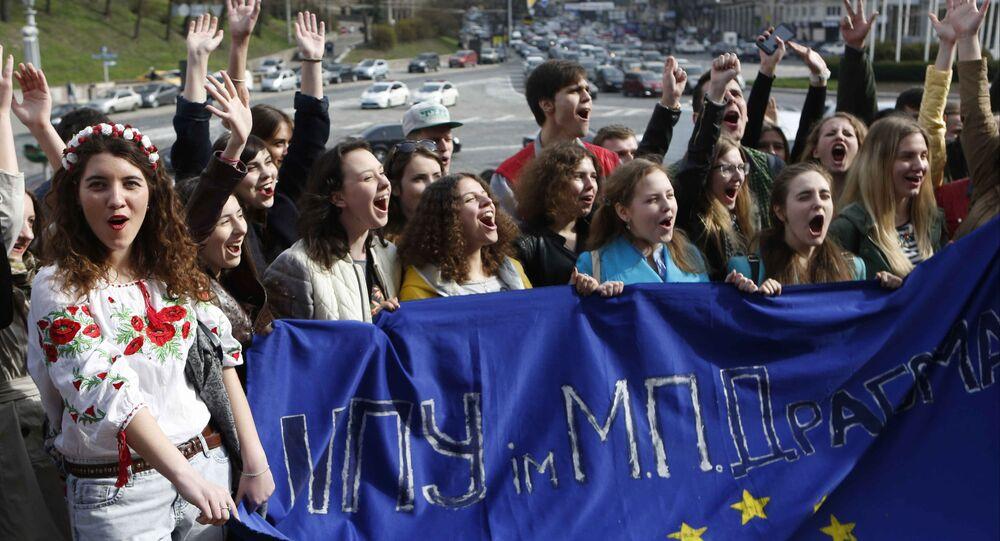 Demonstracja ukraińskich studentów