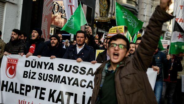 Tłum protestujących tureckich aktywistów - Sputnik Polska