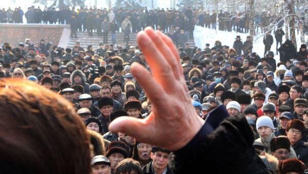 Ludzie podczas akcji protestacyjnej w Kazachstanie. Zdjęcie archiwalne - Sputnik Polska