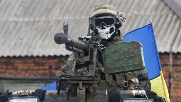 Ukraiński wojskowy w rejonie Debalcewa w obwodzie donieckim - Sputnik Polska