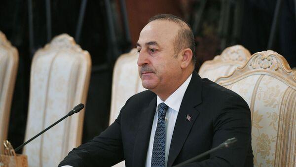 Turecki minister spraw zagranicznych Mevlut Cavusoglu podczas spotkania z ministrem spraw zagranicznych Rosji Siergiejem Ławrowem w Moskwie - Sputnik Polska