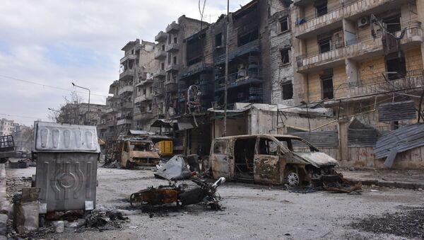 Разрушенные здания в освобожденном Алеппо - Sputnik Polska