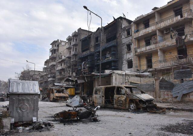 Zburzone domy w wyzwolonym Aleppo