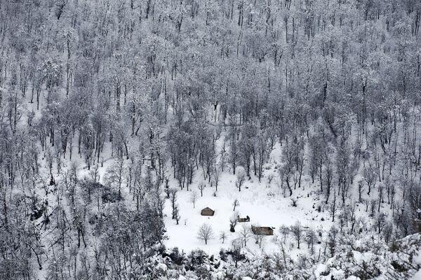Drewniane domy wśród drzew w Górach Tałyskich w Iranie - Sputnik Polska