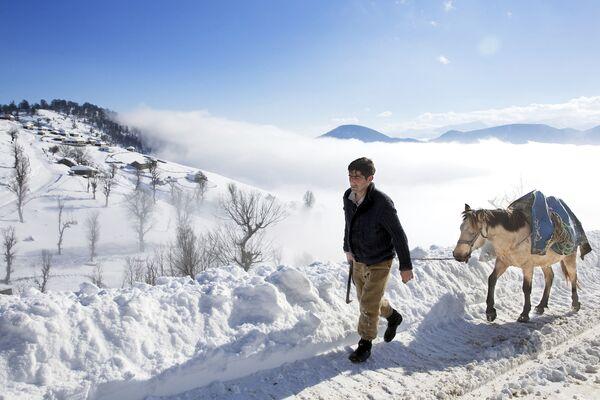 Irański pasterz ze swoim koniem w Górach Tałyskich - Sputnik Polska