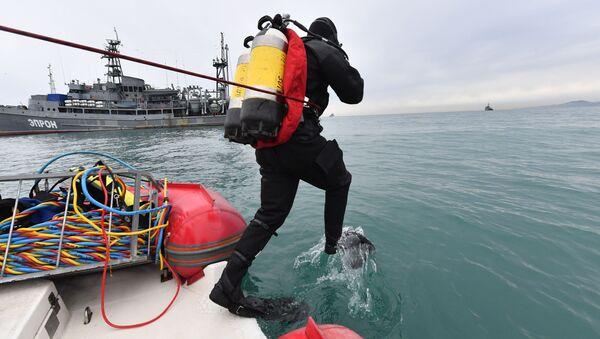 Водолаз МЧС во время поисково-спасательной операции на месте крушения самолета Ту-154 в Черном море у берегов Сочи - Sputnik Polska