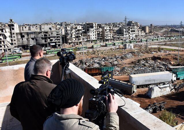 Dziennikarze w syryjskim Aleppo