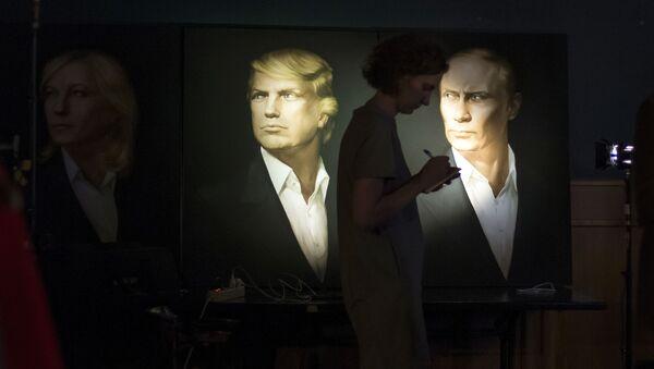 Portrety prezydenta elekta USA Donalda Trumpa i prezydenta Rosji Władimira Putina w jednym z pubów w Moskwie - Sputnik Polska
