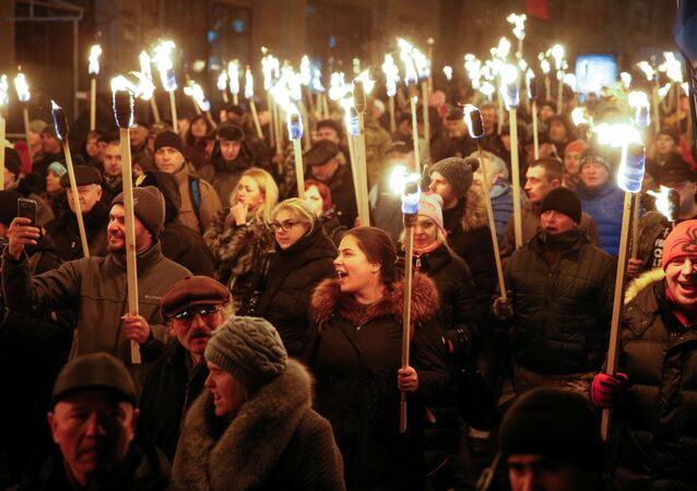 Marsz upamiętniający urodziny Stepana Bandery. Kijów, 01.01.2017.