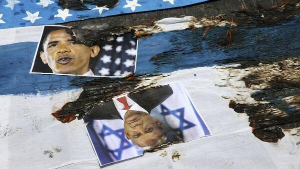Przypalone zdjęcia Baracka Obamy i Benjamina Netanyahu, Teheran - Sputnik Polska