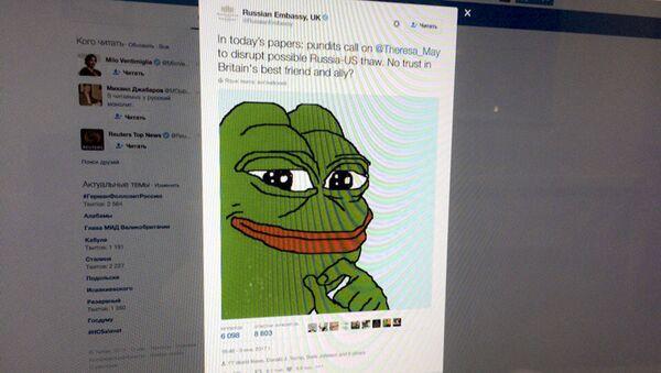 Do twitta dodano rysunek żaby Pepe, co wywołało ostrą reakcję użytkowników portali społecznościowych - Sputnik Polska