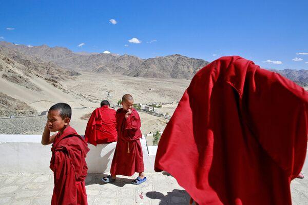 Młodzi zakonnicy w buddyjskim klasztorze Thiksey w mieście Ladakh na północy Indii - Sputnik Polska