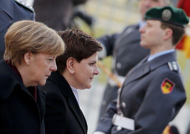 Premier Polski Beata Szydło i kanclerz Niemiec Angela Merkel