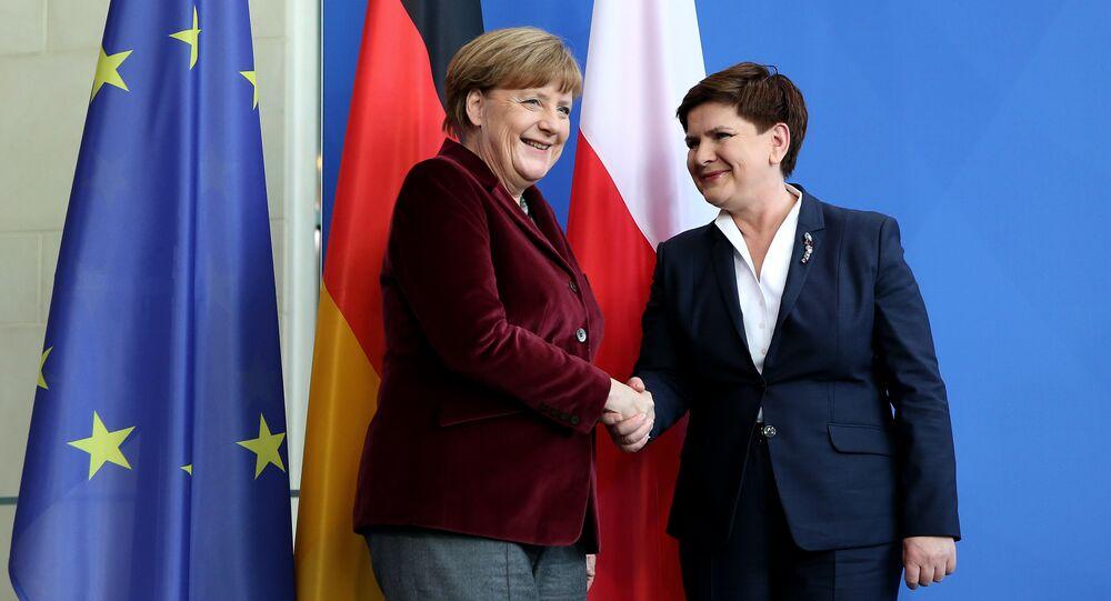 Premier Polska Beata Szydło i kanclerz Niemiec Angela Merkel